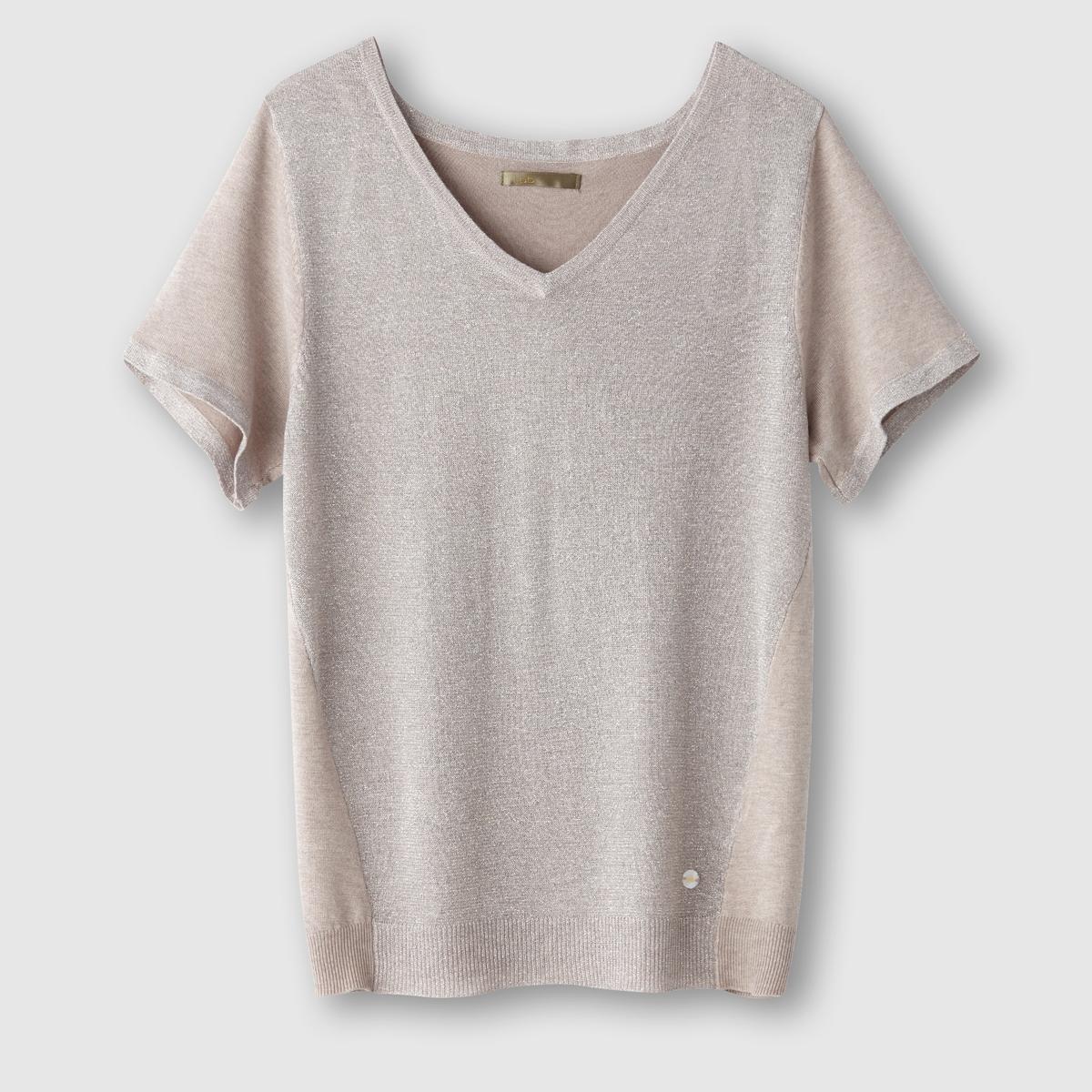 Пуловер с короткими рукавами и V-образным вырезомСостав и описаниеМарка: LES PTITES BOMBESМатериал: 78% вискозы, 19% полиамида, 3% эластана.<br><br>Цвет: бежевый