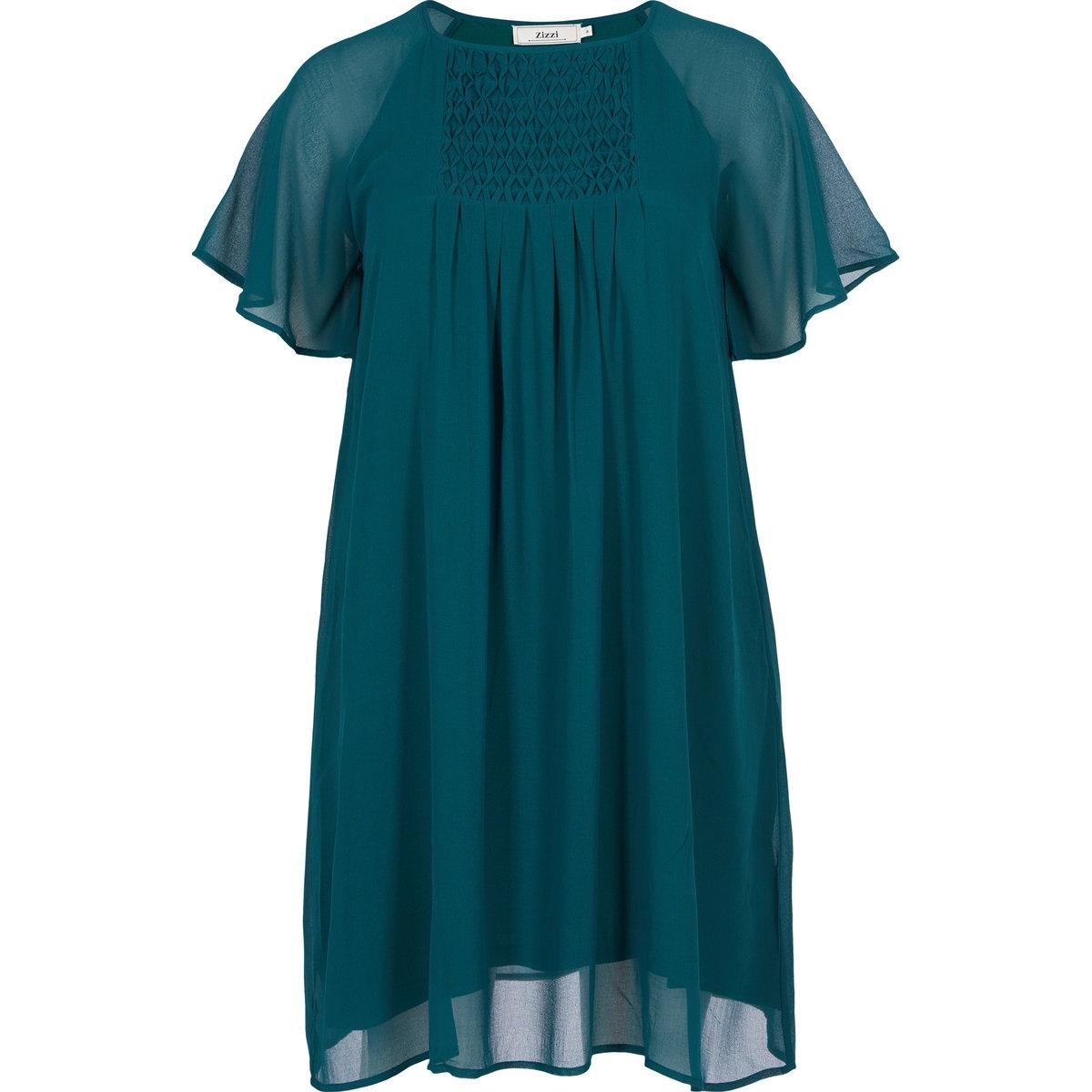 Платье с короткими рукавамиПлатье с короткими рукавами ZIZZI . Круглый вырез . Короткие рукава из полупрозрачной ткани. Свободный покрой, струящийся материал. 100% полиэстера Соответствие размеров   : S= 42/44, M= 46/48, L= 50/52, XL = 54/56<br><br>Цвет: темно-зеленый<br>Размер: M