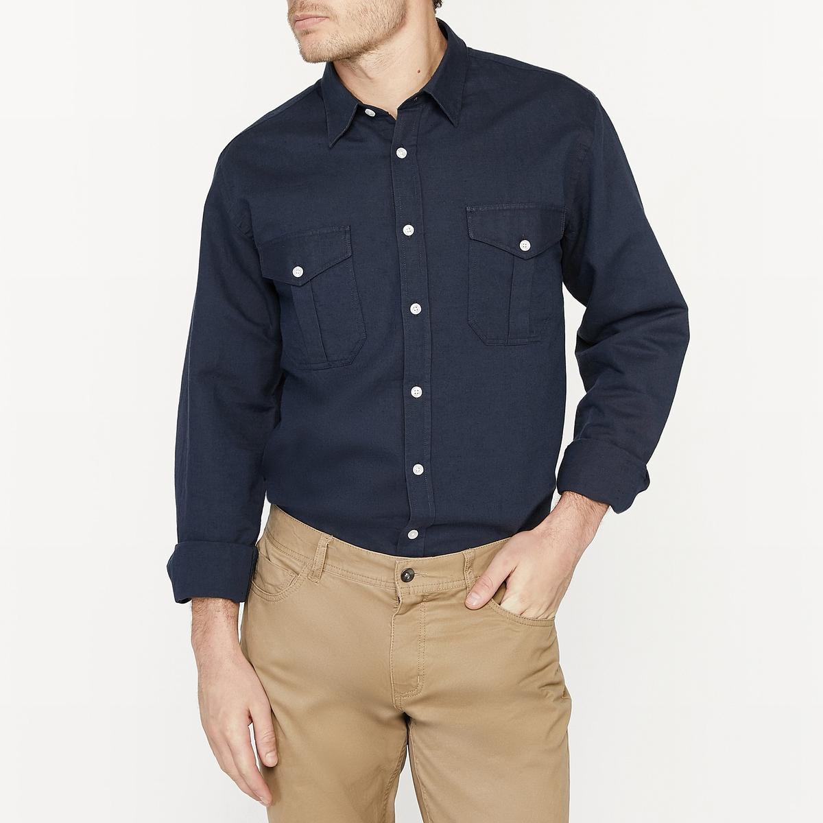 Рубашка прямого покроя из льна меланж