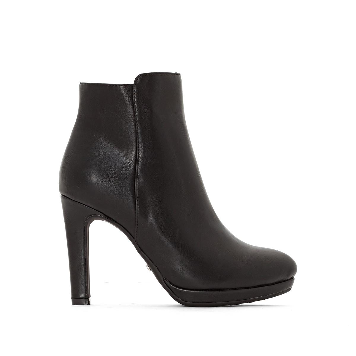 Ботильоны, Y436Подкладка: Синтетика и текстиль.         Подошва: Синтетический материал.                Высота каблука: 10 см.Форма каблука: ШирокаяМысок: Круглый.   Застежка: На молнию.<br><br>Цвет: черный<br>Размер: 39