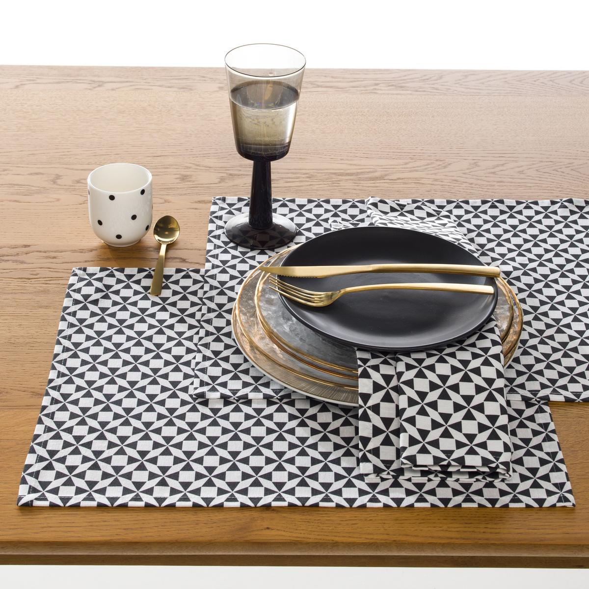 2 салфетки под столовый прибор, CisareХарактеристики салфетки под столовый прибор:70% хлопка, 30% полиэстера.Размеры : 34 x 45 см Комплект из 2 салфеток. Уход :Следуйте рекомендациям по уходу, указанным на этикетке изделия.<br><br>Цвет: антрацит/шафран