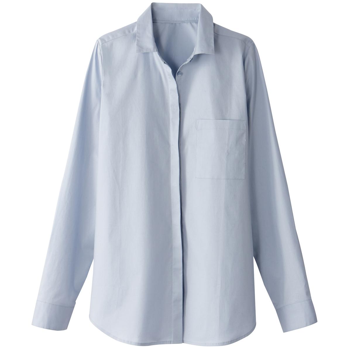 Camisa direita em algodão, bolso no peito