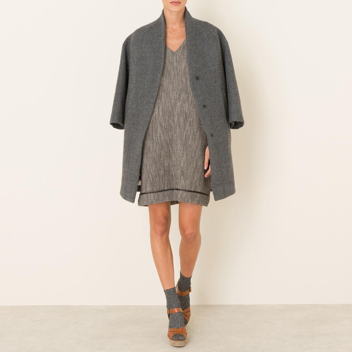 Пальто длинноеСостав и описание Материал : 51% шерсти, 49% хлопкаМарка : POMANDERE<br><br>Цвет: серый
