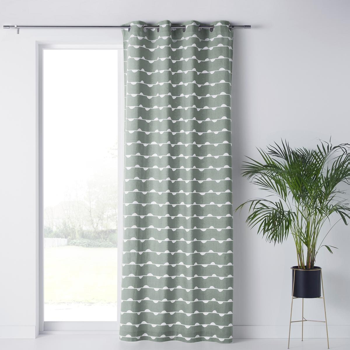 Штора LaRedoute С принтом Irun 350 x 140 см зеленый