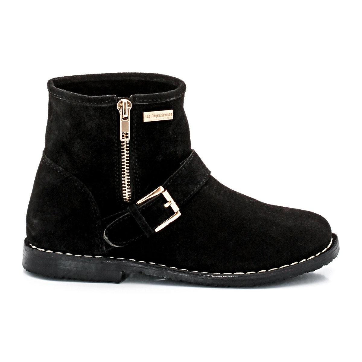 Сапоги Louange из невыделанной кожиОригинальная застежка на молнию и стильные детали - модные сапоги в рокерском стиле доставят удовольствие ребенку в этом сезоне!<br><br>Цвет: черный<br>Размер: 32.33