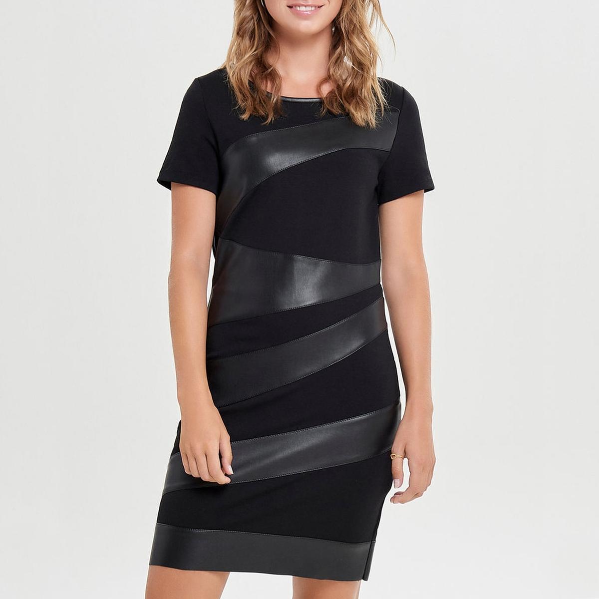 Платье прямого покроя с вставками из искусственной кожи  короткими рукавами