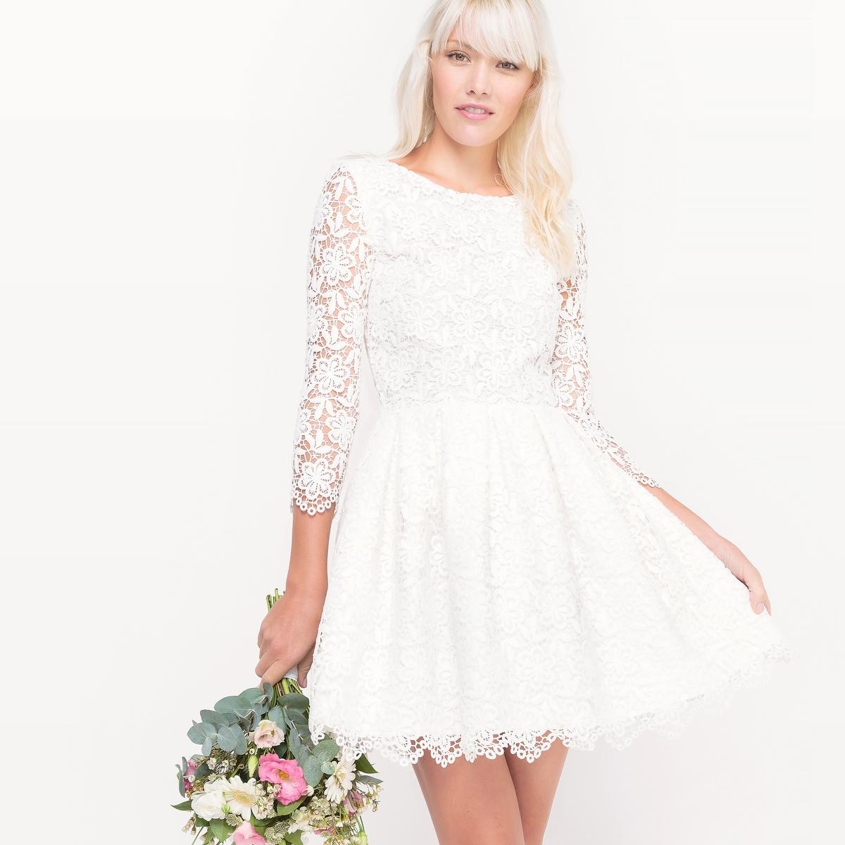 Платье свадебное короткое, из кружева