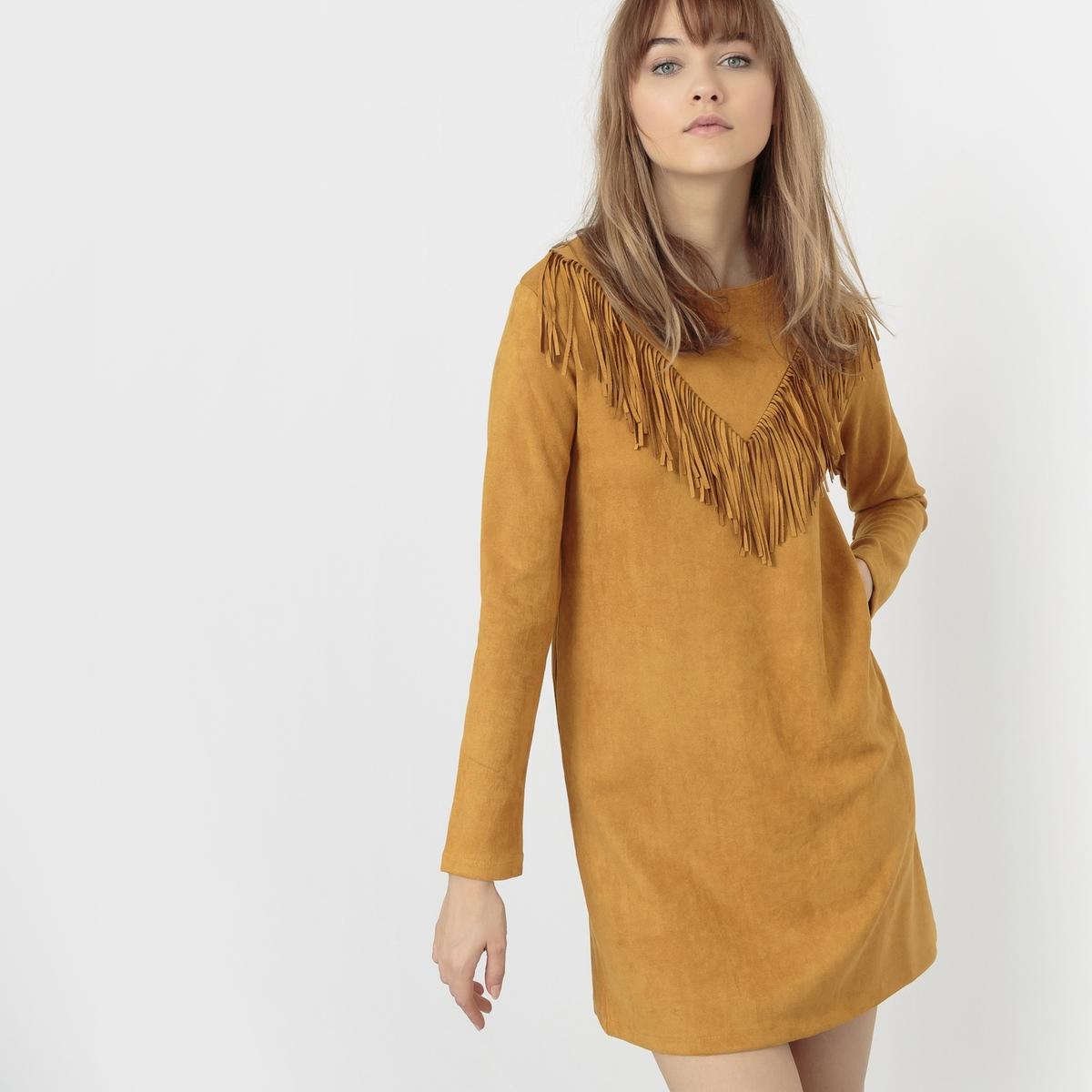 Платье короткое прямого покрояКороткое платье MOLLY BRACKEN. Длинные рукава. Прямой покрой, круглый вырез. V-образная отделка бахромой спереди. Состав и описание :Материал : 85% вискозы, 15% полиэстераМарка : MOLLY BRACKEN<br><br>Цвет: горчичный,черный<br>Размер: L.L