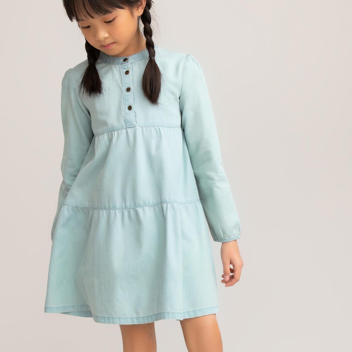 Платье LaRedoute С длинными рукавами из легкого денима 3-12 лет 6 лет - 114 см синий платье laredoute в полоску с длинными рукавами 3 12 лет 6 лет 114 см синий