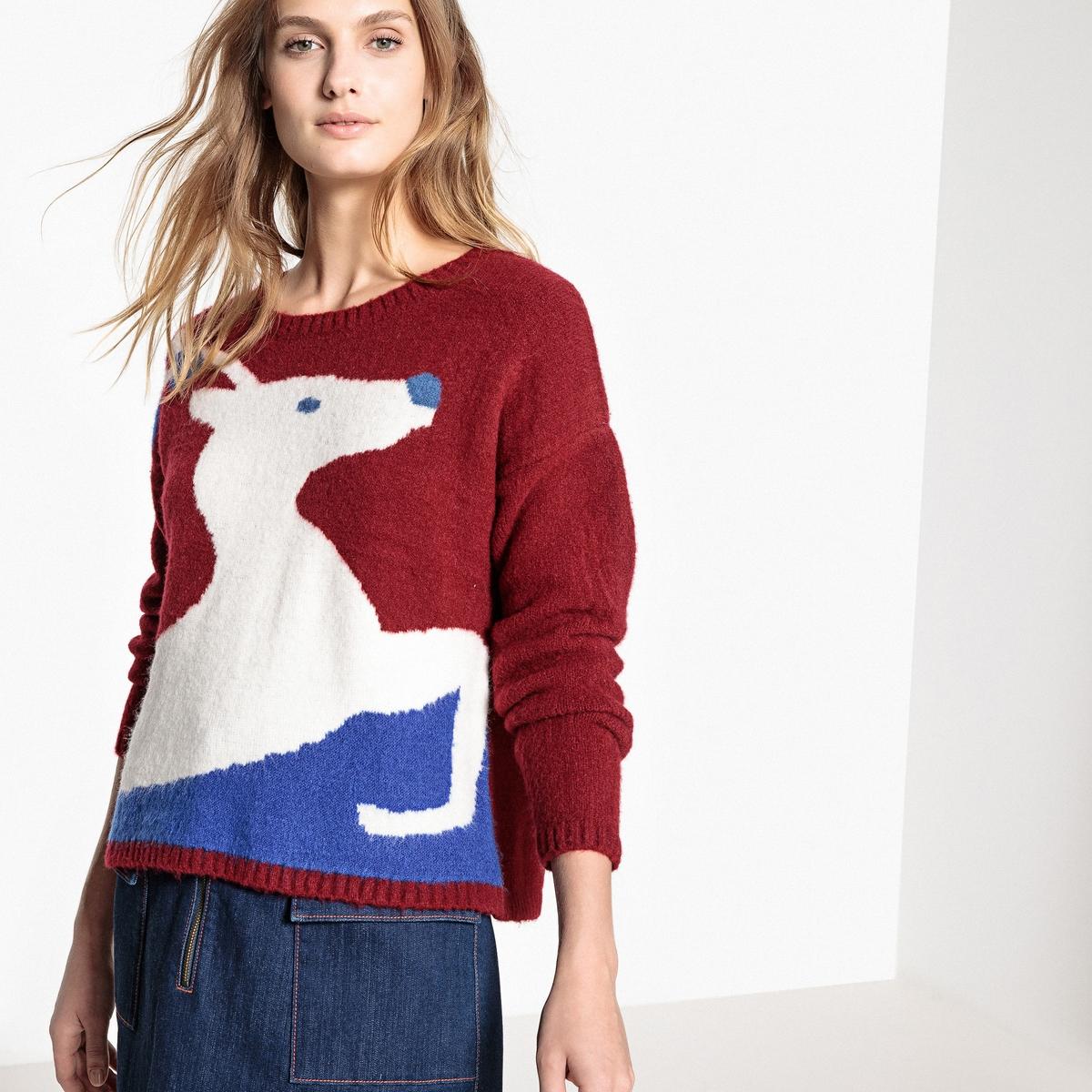 Пуловер в духе Рождества с круглым вырезом