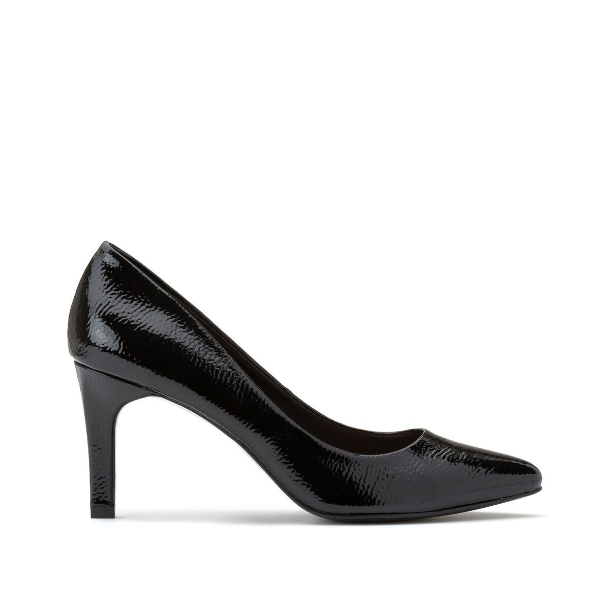 Туфли LaRedoute Лакированные на высоком каблуке 40 черный