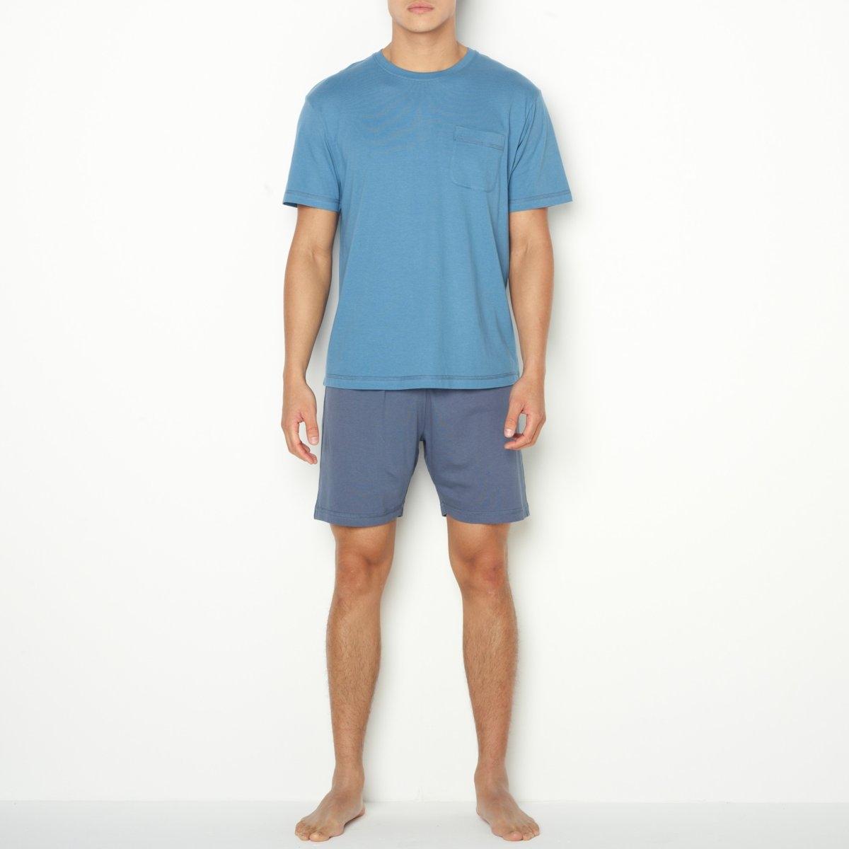 Пижама с шортамиДжерси, 100% хлопка. Футболка с короткими рукавами, круглым вырезом, нагрудным карманом и контрастной строчкой. Шорты с эластичным поясом.<br><br>Цвет: серый/ антрацит,синий/ темно-синий<br>Размер: XXL.3XL.M.XXL.S