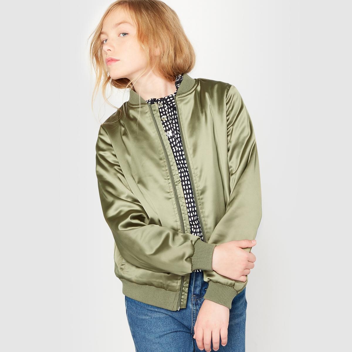 Куртка-бомбер из сатина 10-16 летКуртка в стиле бомбер из сатина . Круглый вырез. Длинные рукава. Застежка на молнию. боковые карманы . Манжеты и низ на резинке.Состав и описание : Материал       97% полиэстера, 3% эластанаМарка: R pop.  Уход :Машинная стирка при 30° на умеренном режиме с одеждой подобного цвета .Стирать, предварительно вывернув на изнанку.Машинная сушка запрещена.Не гладить<br><br>Цвет: хаки<br>Размер: 16 лет
