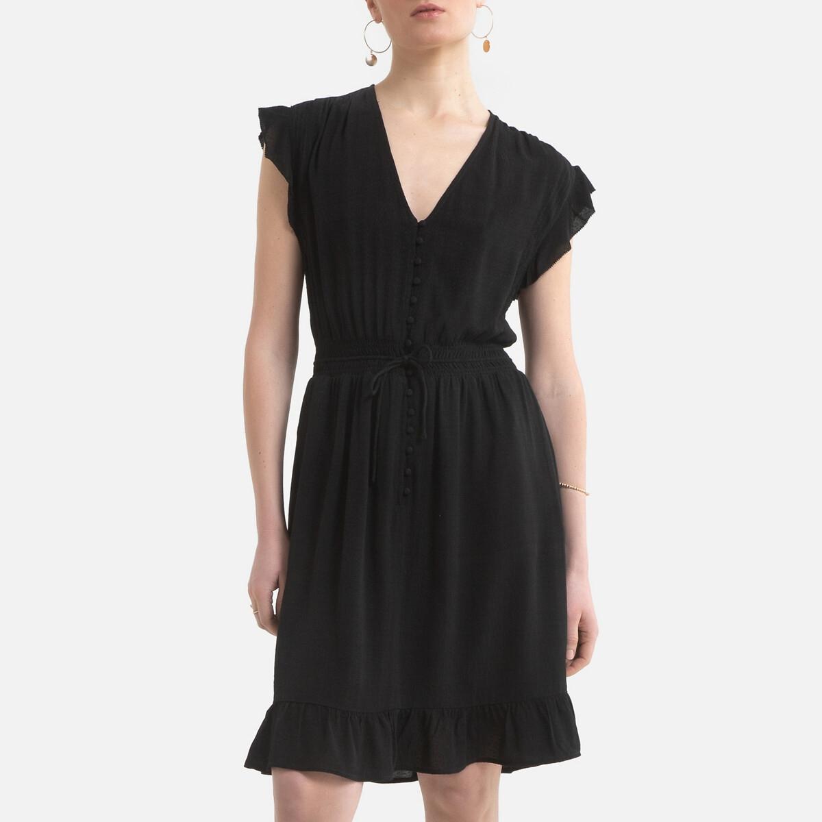 Платье LaRedoute Короткое с короткими рукавами V-образный вырез 0(XS) черный