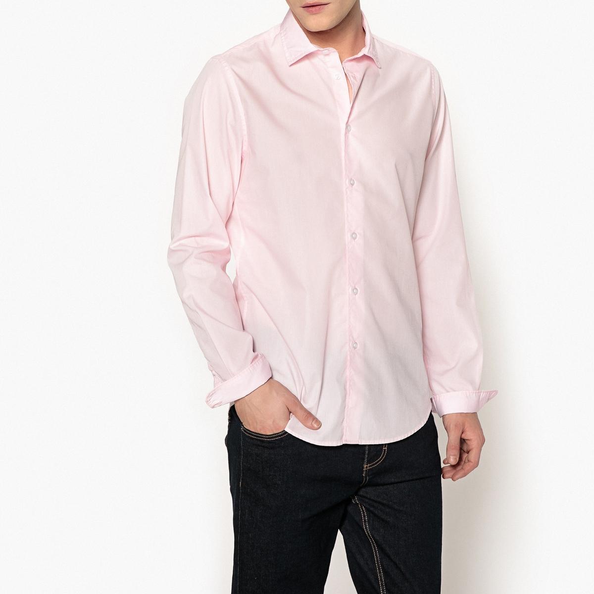 цена Рубашка La Redoute Узкого покроя 49/50 розовый онлайн в 2017 году