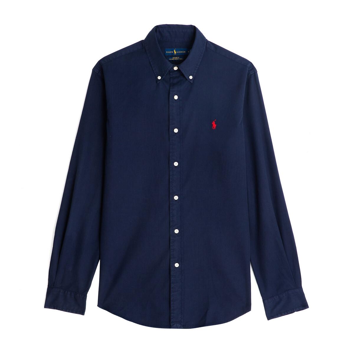 Рубашка LaRedoute Прямого покроя из поплина стретч M синий