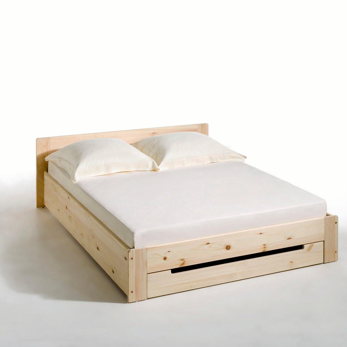 Кровать LaRedoute Из массива сосны с основой под матрас и ящиком Crawley 160 x 200 см синий