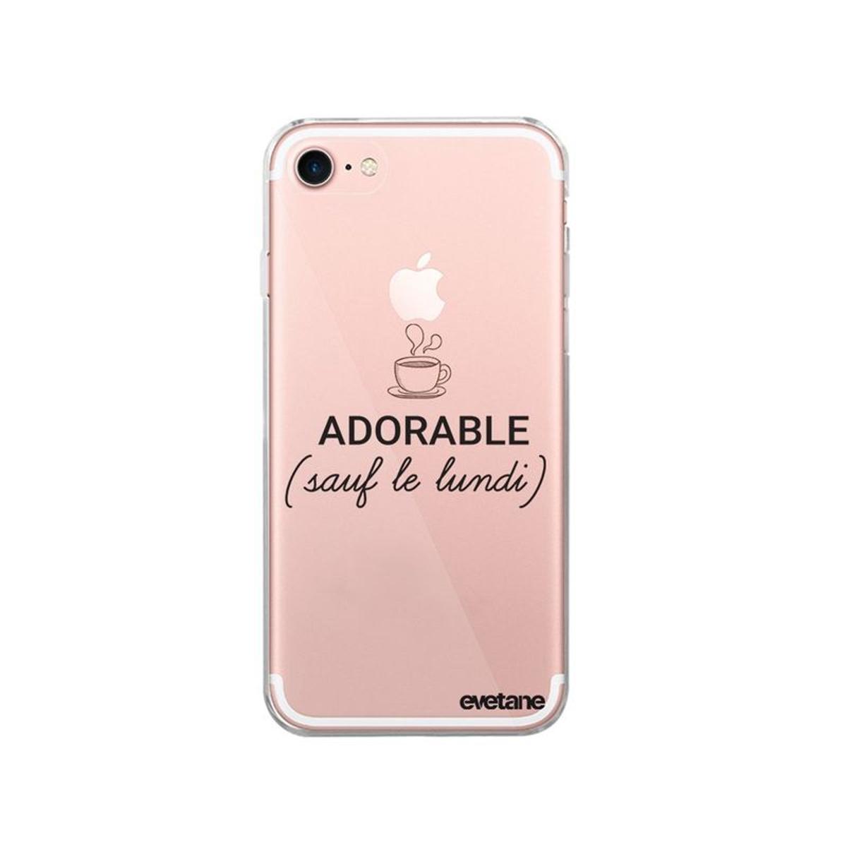 Coque iPhone 7 iPhone 8 souple transparente, Adorable Sauf le Lundi, Evetane®