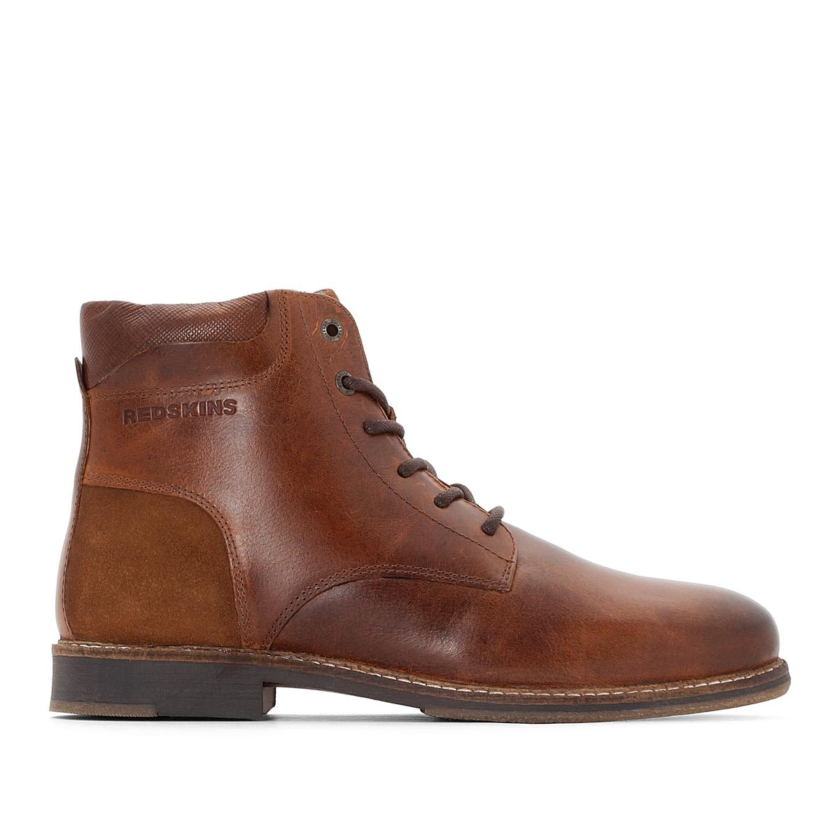 Ботильоны кожаные JIVAROОписание:Детали  •  Высота каблука : 2 см.  •  Застежка : шнуровка •  Круглый мысок •  Гладкая отделкаСостав и уход  •  Верх 100% кожа •  Подкладка 100% текстиль •  Стелька 100% кожа •  Подошва 100% эластомер<br><br>Цвет: коньячный<br>Размер: 41