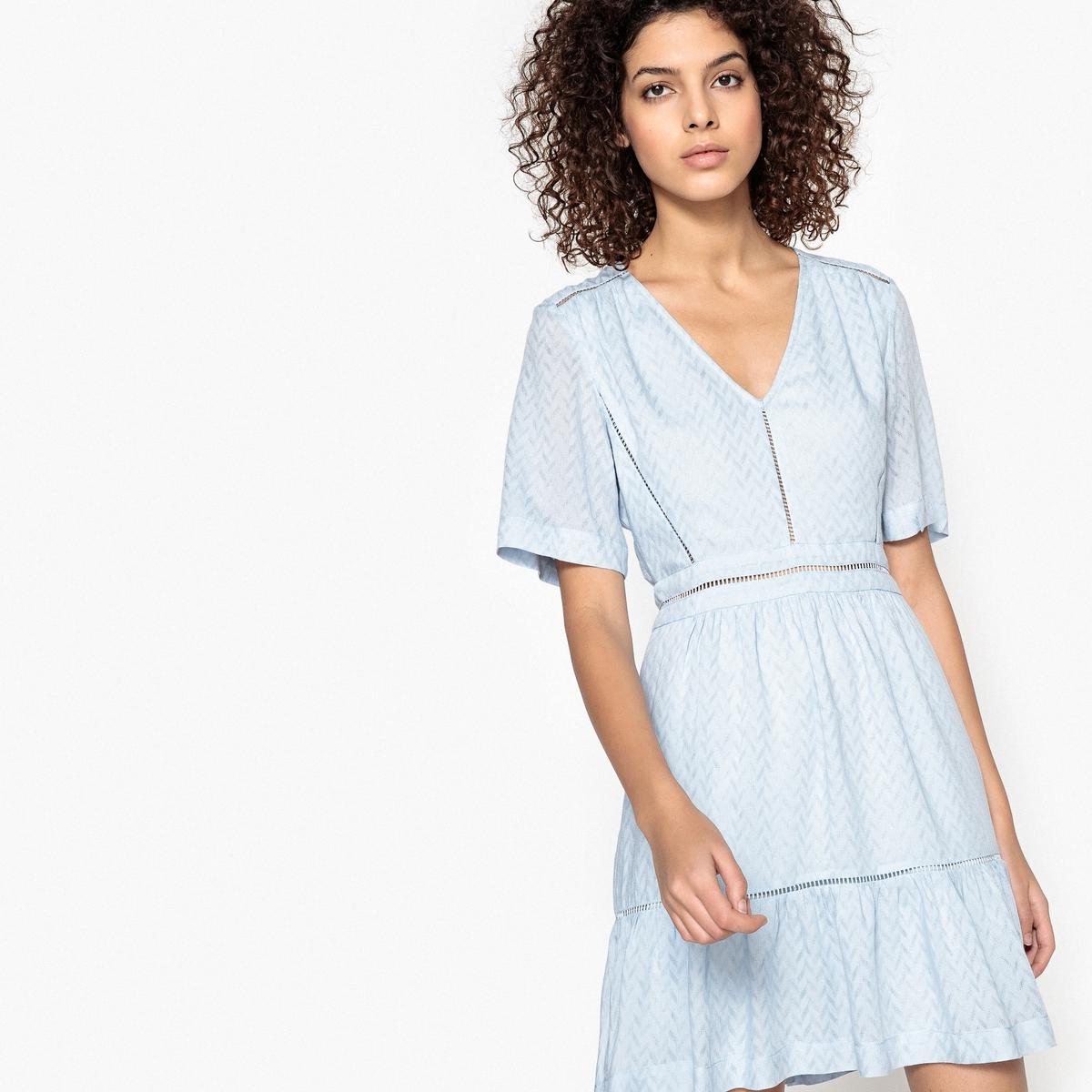 Платье расклешенное CAMYДетали •  Форма : расклешенная •  Укороченная модель •  Короткие рукава    •   V-образный вырезСостав и уход •  100% вискозы  •  Подкладка : 100% вискоза •  Следуйте рекомендациям по уходу, указанным на этикетке изделия<br><br>Цвет: голубой