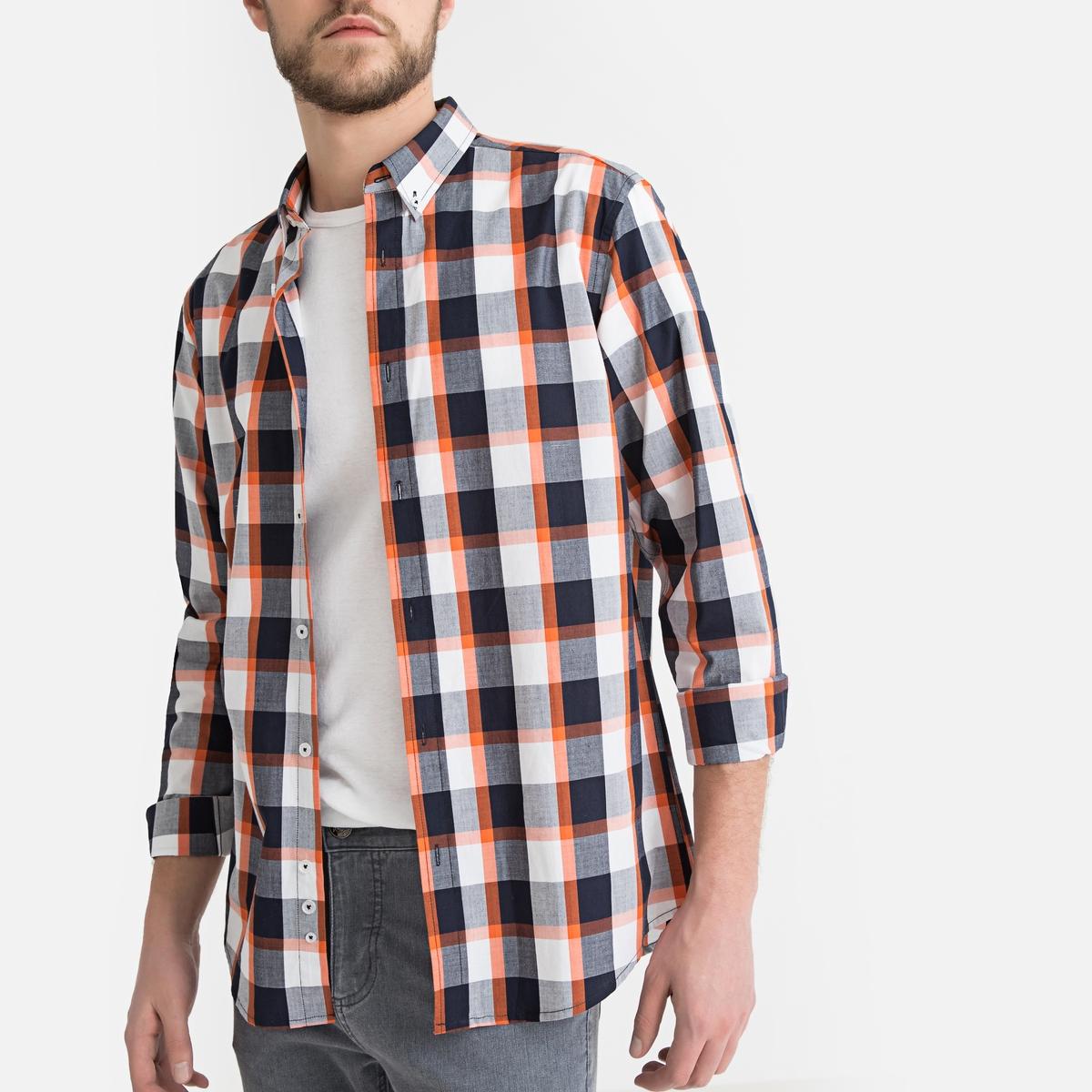 Camisa recta a cuadros, de manga larga