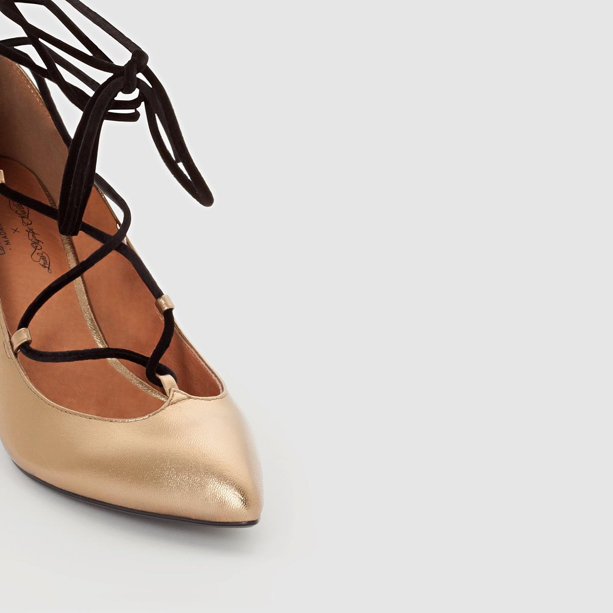 Туфли на шнуровкеВерх/ Голенище : кожа                     Подкладка : кожа                     Стелька : кожа                     Подошва : эластомер                     Высота каблука : 8 см                     Форма каблука : высокий каблук                     Мысок : заостренный мысок                     Застежка : шнуровка<br><br>Цвет: бронзовый<br>Размер: 36