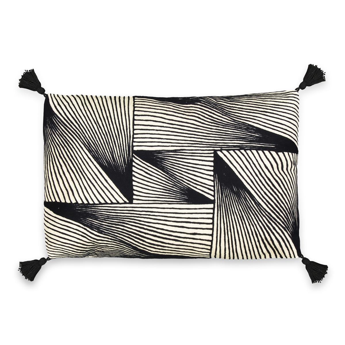Чехол на подушку-валик, 100% хлопок, Incipit<br><br>Цвет: экрю/черный