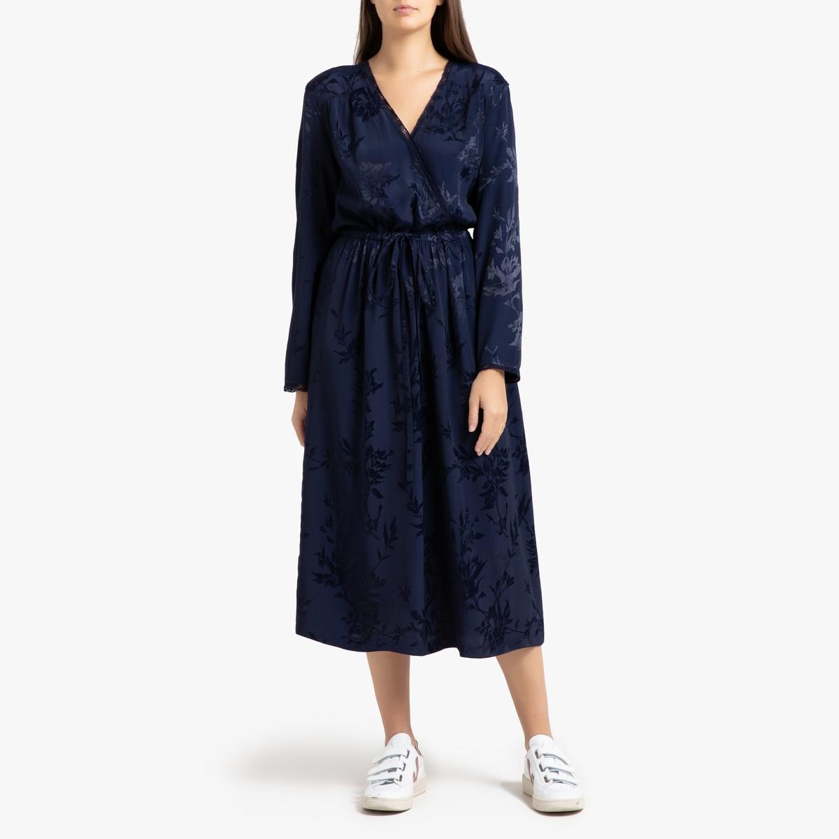 Платье La Redoute Длинное с запахом RIMBAUD S синий платье la redoute длинное amandine s разноцветный