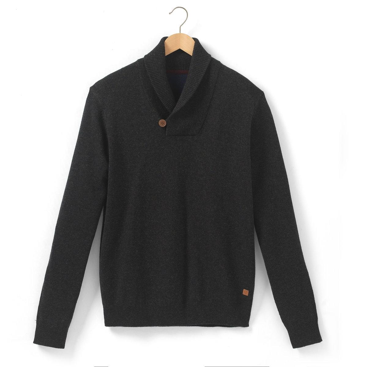Пуловер с шалевым воротникомПуловер с шалевым воротником - R essentiel. Пуловер выполнен из 100% шерсти ягненка LAMBSWOOL - очень комфортной и теплой пряжи. Классика базового гардероба. Обработка TOTAL EASY CARE для легкости ухода за изделием. Края рукавов и низа связаны в рубчик. Длина 69 см.<br><br>Цвет: черный<br>Размер: S
