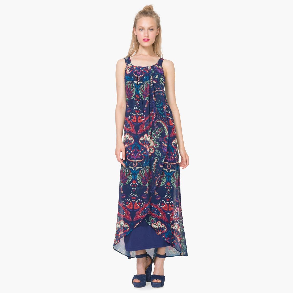 Платье длинное с бретелями с рисунком
