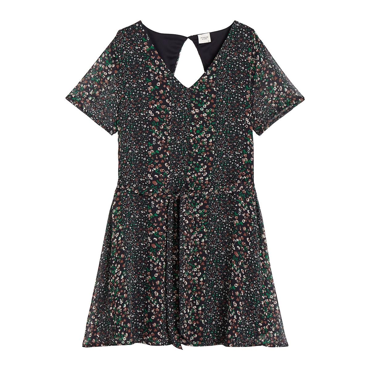 Платье La Redoute Расклешенное с цветочным рисунком длина до колен 34 (FR) - 40 (RUS) синий платье la redoute длинное с цветочным рисунком и напускным эффектом 34 fr 40 rus черный