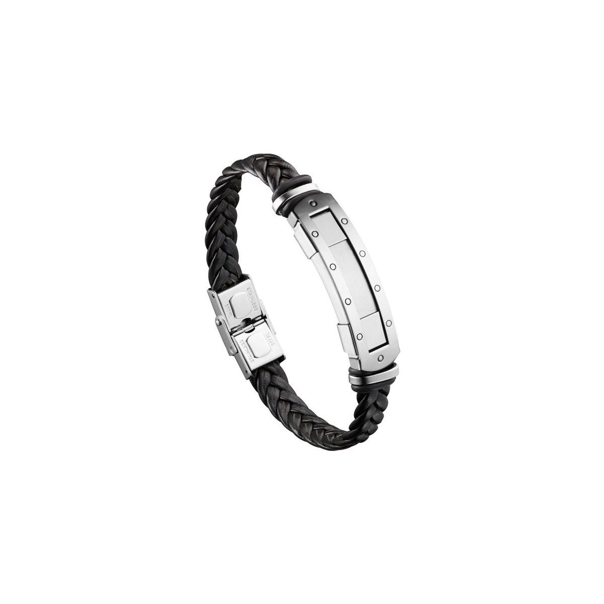Bracelet cuir et acier rivets Lui de Clio