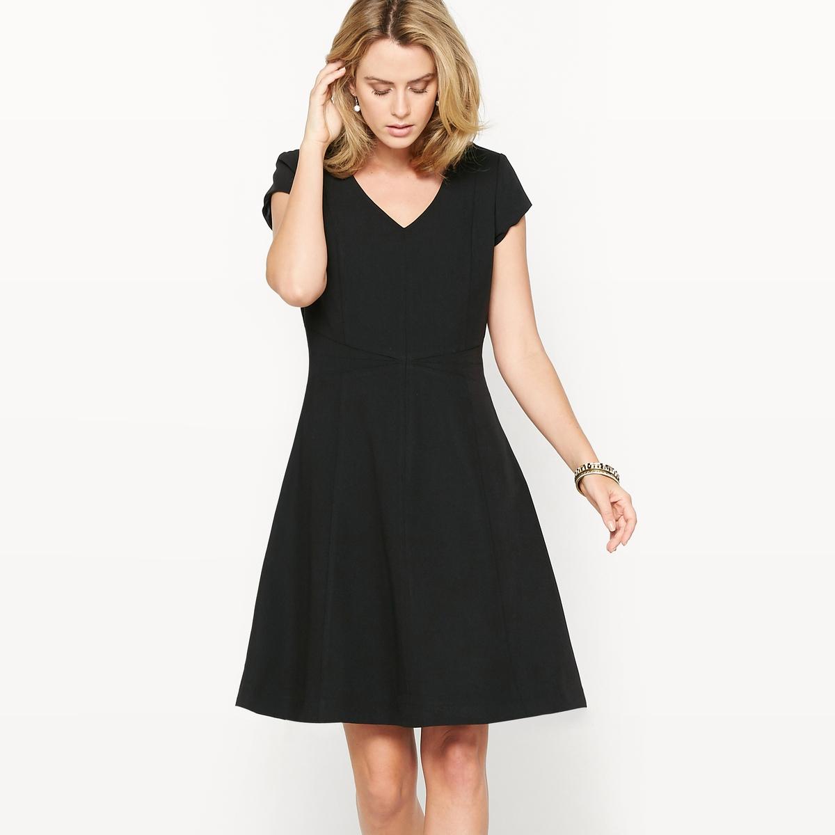 Платье расклешенное из саржи стрейчРасклешенное платье. Это платье идеально сидит на любой фигуре. Выбор наших клиентов. V-образный вырез. Отрезные детали спереди и сзади. Оригинальные швы на поясе. Короткие рукава. Скрытая застежка на молнию сзади.Состав и описание :Материал : Саржа, 74% полиэстера, 19% вискозы, 7% эластана.Длина 95 см.Марка : Anne Weyburn.Уход :Машинная стирка при 30 °С на умеренном режиме.Гладить на низкой температуре.<br><br>Цвет: черный<br>Размер: 42 (FR) - 48 (RUS)