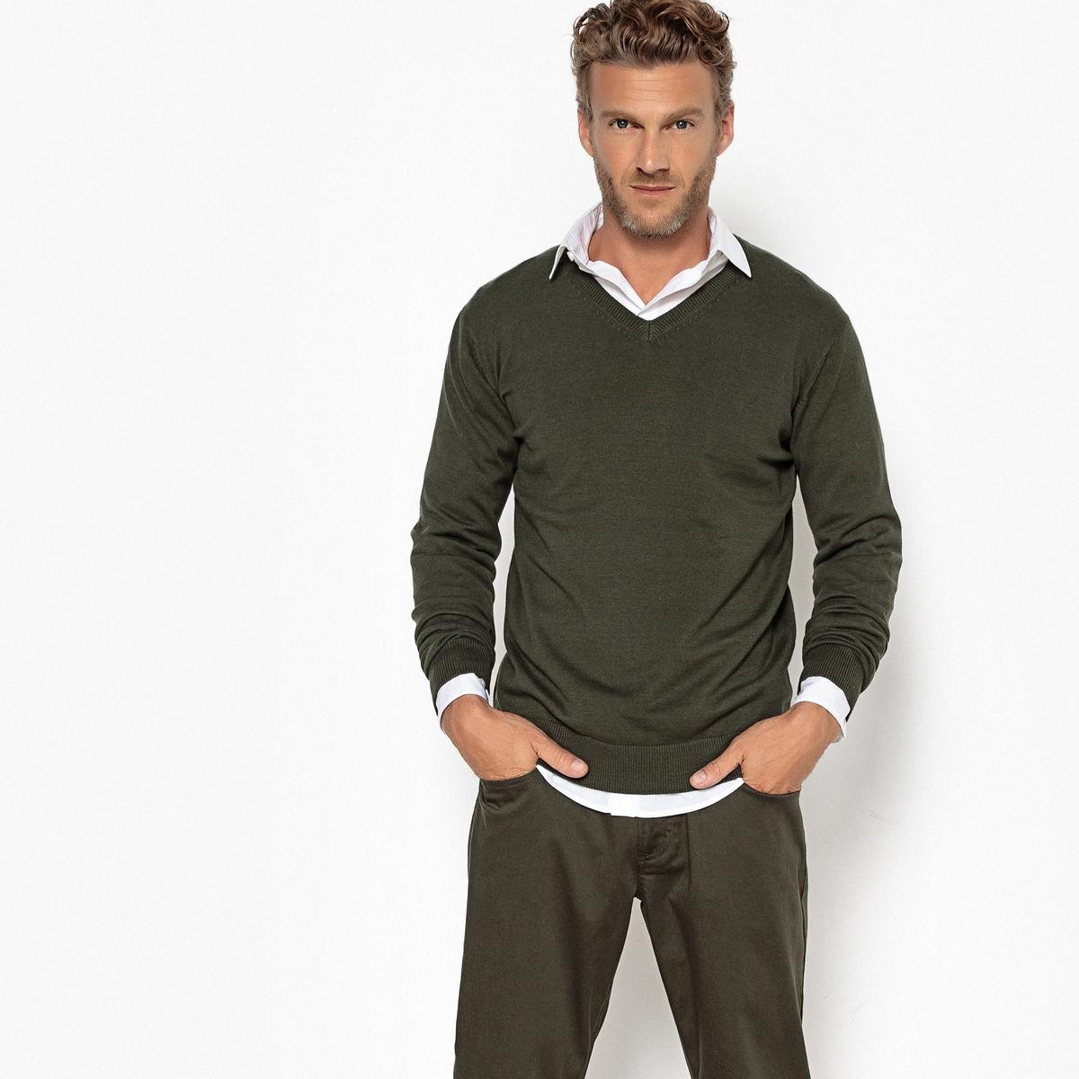 Пуловер с V-образным вырезом, 100% хлопок, PIERRE от La Redoute Collections