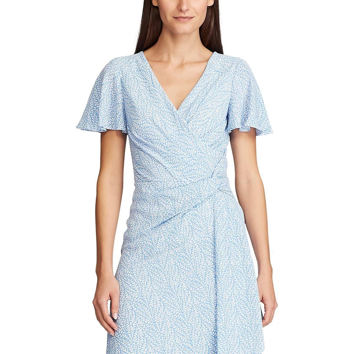 Платье La Redoute С принтом из крепа с короткими рукавами 40 (FR) - 46 (RUS) синий гипюровое платье с короткими рукавами steilmann