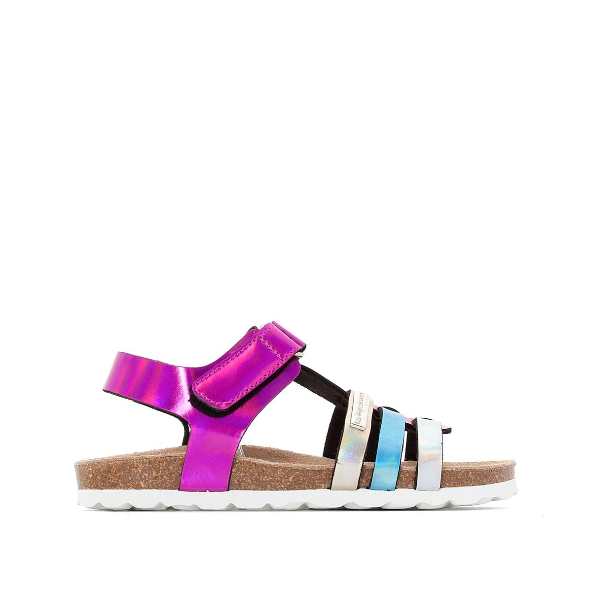 Босоножки на планке-велкро PolinaВерх : синтетика   Подкладка : синтетика   Стелька : кожа   Подошва : синтетика   Форма каблука : плоский каблук   Мысок : закругленный мысок  Застежка : планка-велкро<br><br>Цвет: розовый/разноцветный