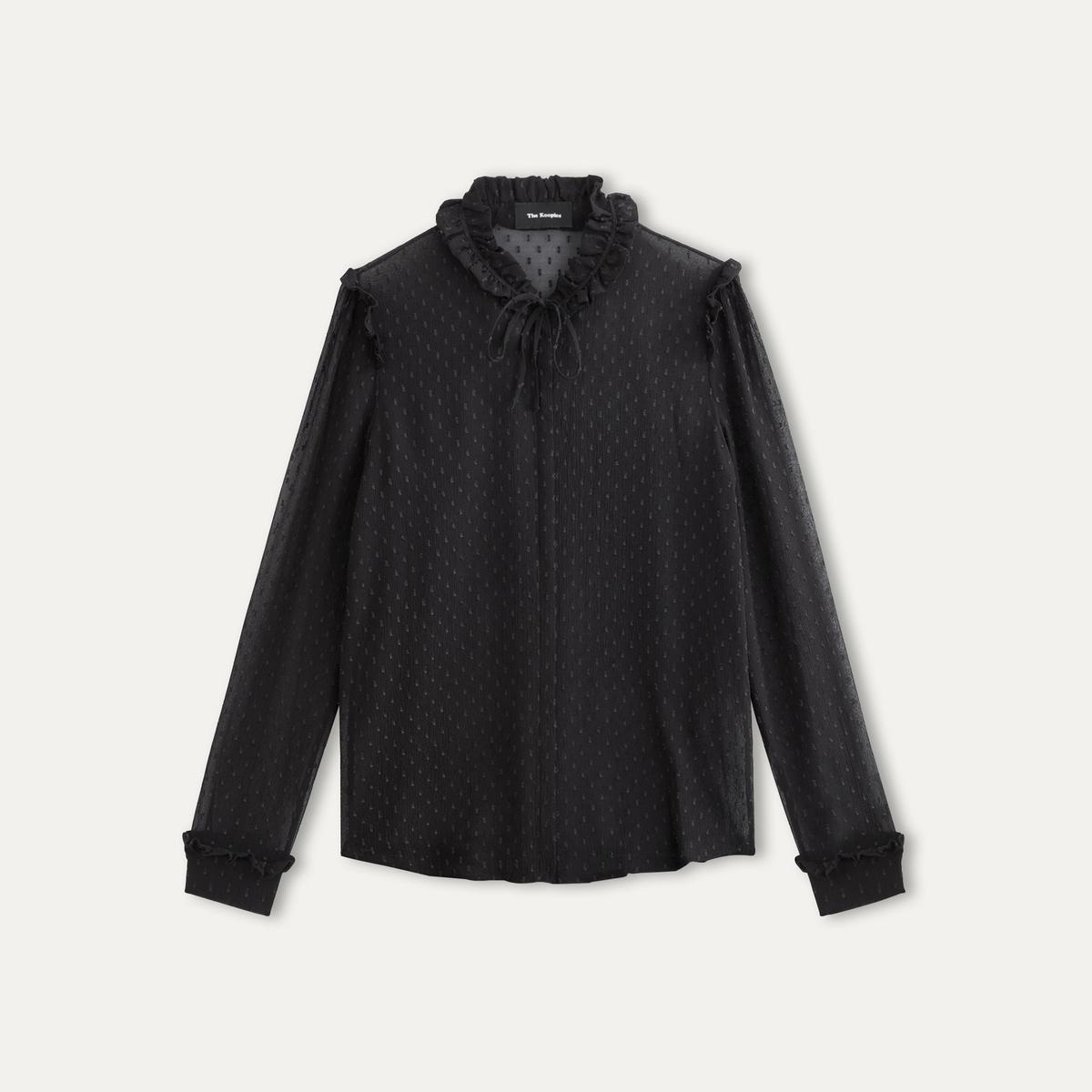 Рубашка из ткани, расшитой гладьюСостав и описание    Материал : крепдешин 90% шелка, 10% полиэстера   Марка : THE KOOPLES<br><br>Цвет: черный
