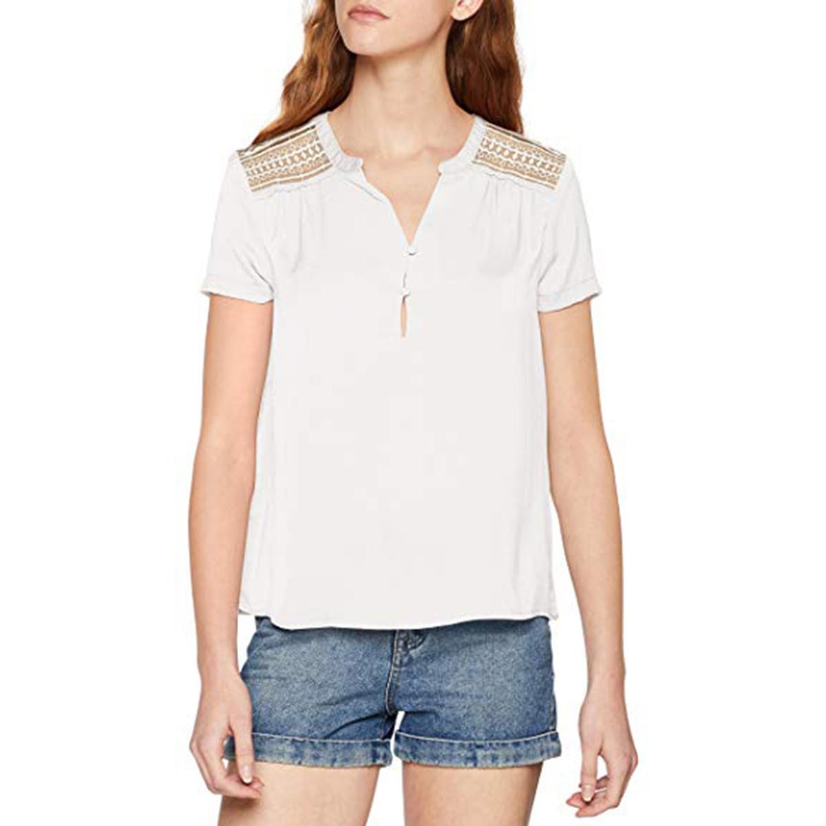 Блузка с тунисским вырезом, ажурной спинкой, короткими рукавами
