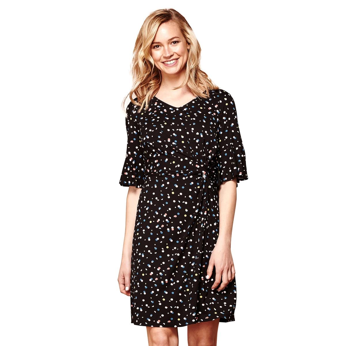 Платье прямое короткое с короткими рукавами и рисунком в горошек платье yumi yumi платье