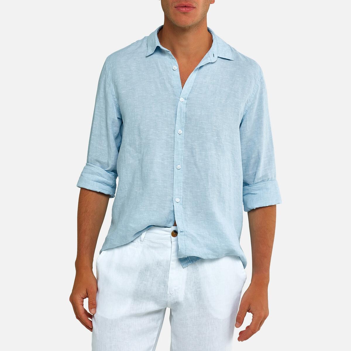 Chemise droite manches longues en lin