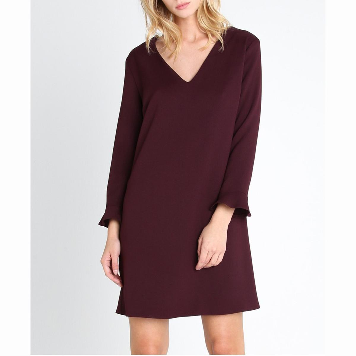 Платье короткое DAVOСостав и описание :Материал : 100% полиэстерМарка :<br><br>Цвет: темно-фиолетовый,черный<br>Размер: 2(M)