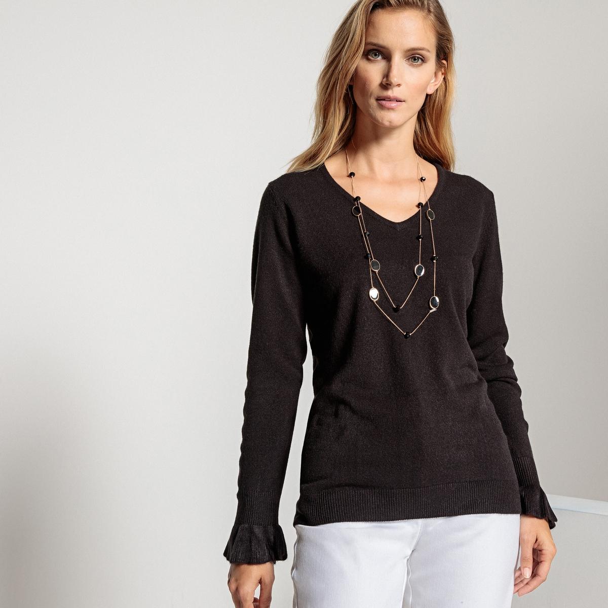 Sweter z dekoltem V o kaszmirowej miękkości