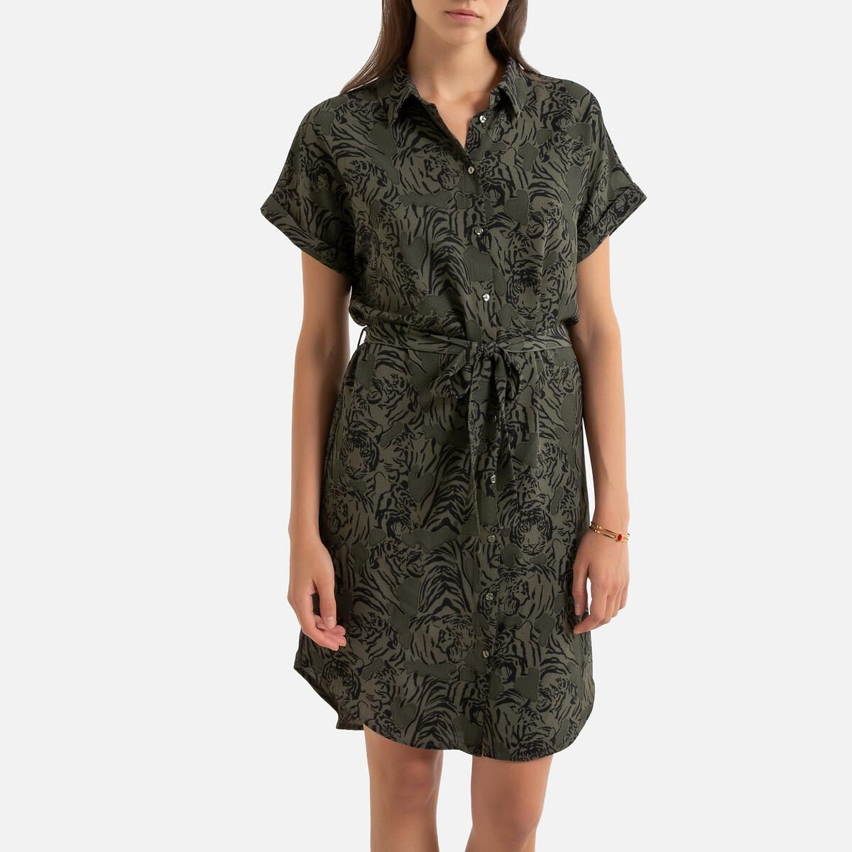 Платье-рубашка La Redoute С короткими рукавами с тигровым принтом XS зеленый цена 2017