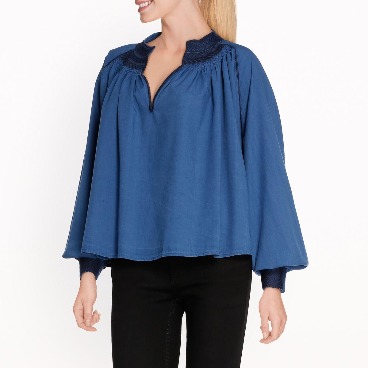 Блузка свободная и короткая maison scotch футболка с длинными рукавами