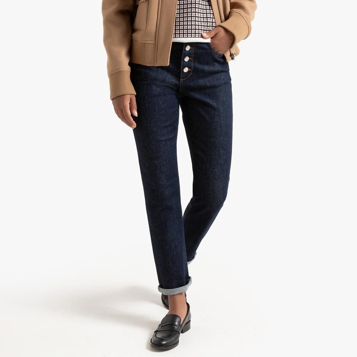 Джинсы La Redoute Узкие с видимой застежкой на пуговицы 36 (FR) - 42 (RUS) синий джинсы la redoute узкие для периода беременности 36 fr 42 rus серый