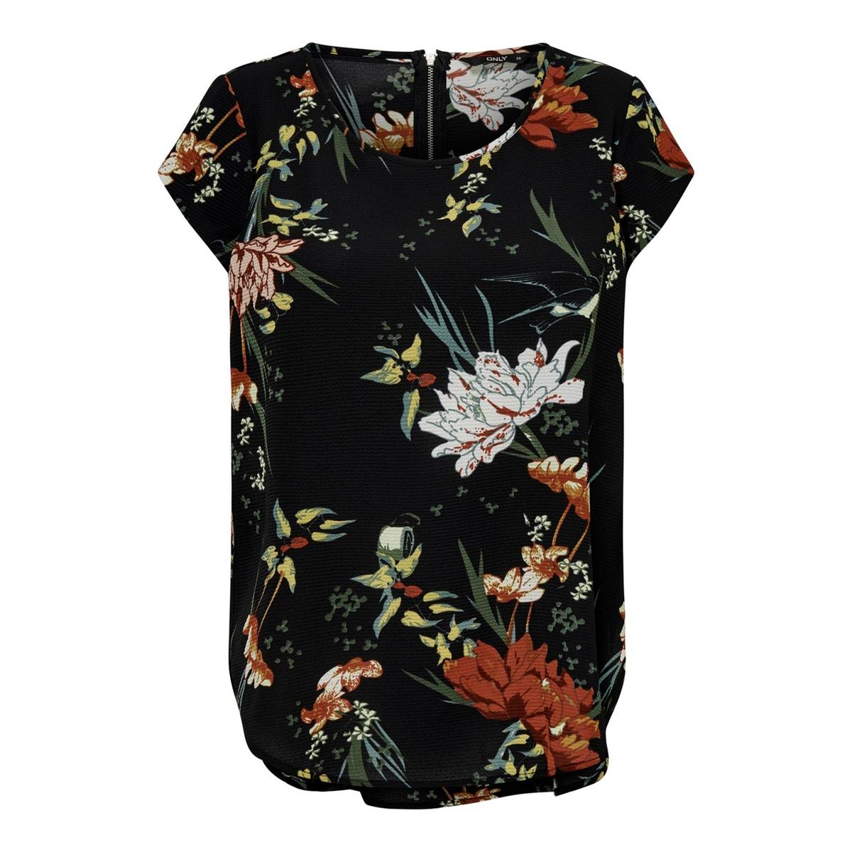 Блузка La Redoute С короткими рукавами и цветочным рисунком 36 (FR) - 42 (RUS) черный