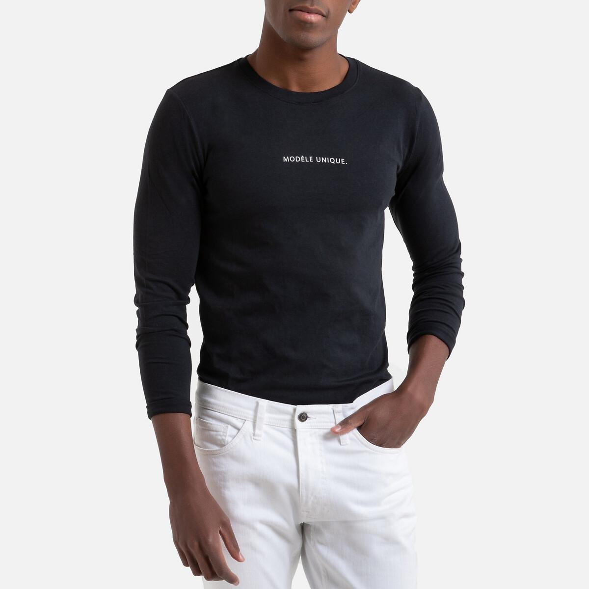 Camisola de gola redonda, mangas compridas, mensagem estampada