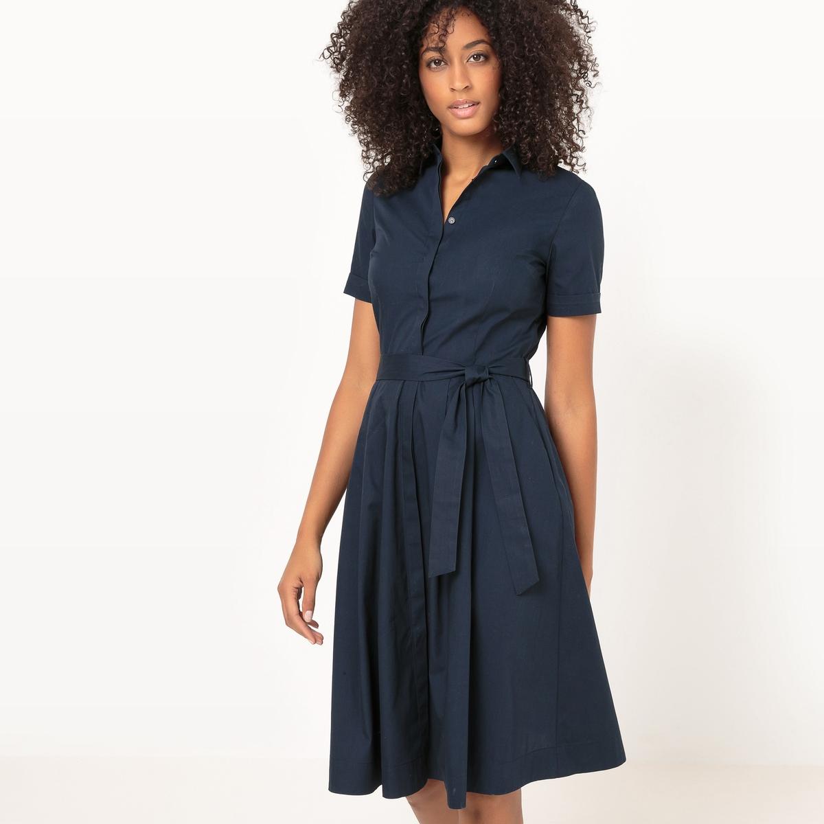 Платье-рубашка расклешенное с поясом