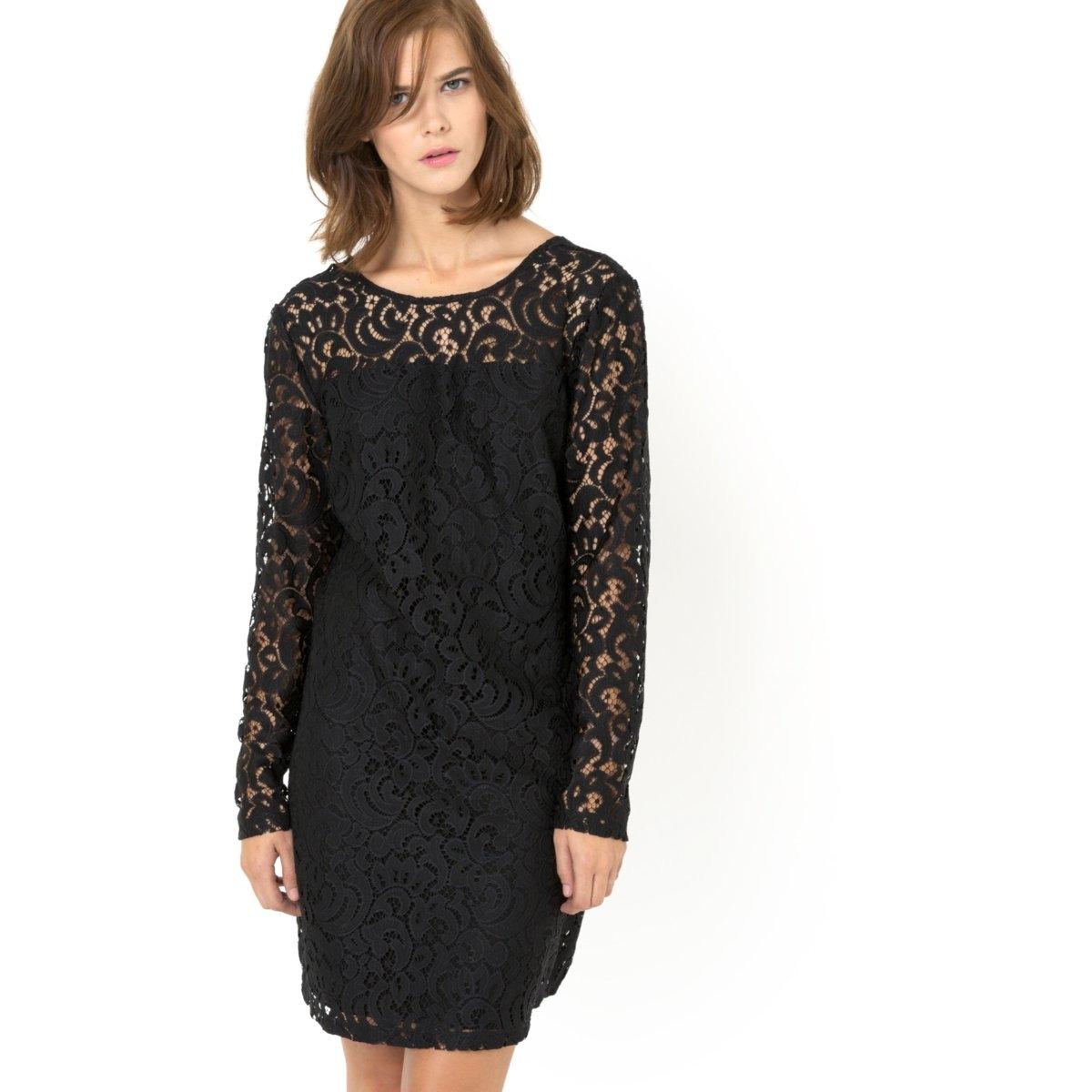 Платье прямое кружевное, длинные рукава, на подкладке, круглый вырезПлатье с длинными рукавами  - VILA. Платье прямого покроя,кружевное, на подкладке. Круглый вырез спереди и V-образный -  сзади. 65% хлопка, 35% полиамида.<br><br>Цвет: черный<br>Размер: XS