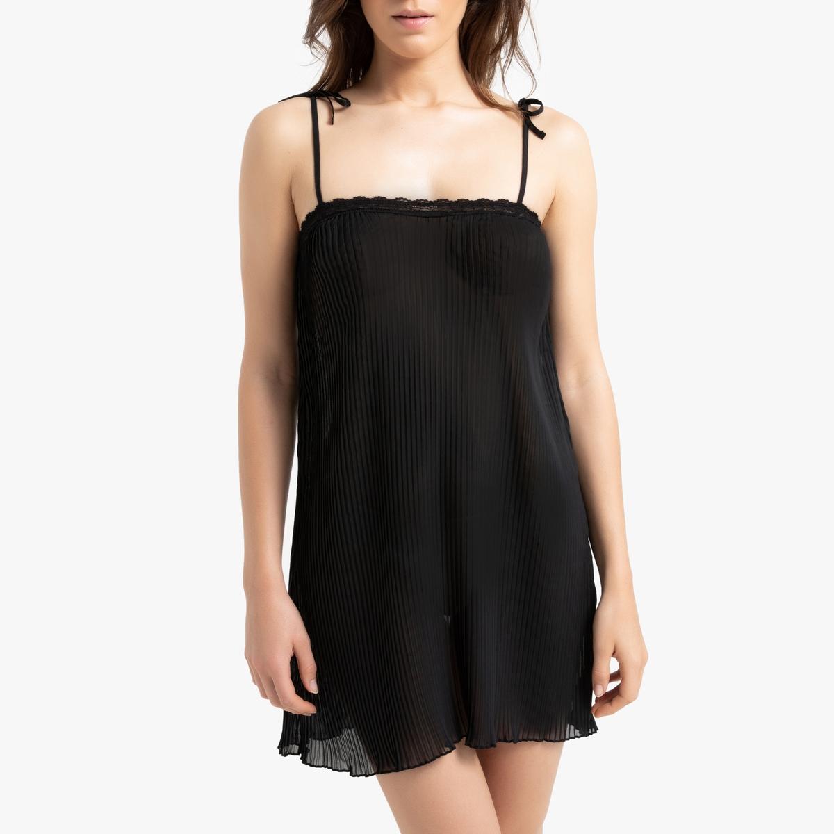 Ночная La Redoute — Рубашка на тонких бретелях с кружевными вставками (RUS) черный